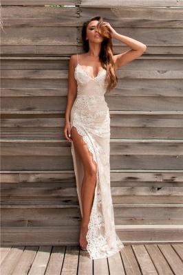 Lace Sheath Side-Slit Sweetheart Straps Spaghettis Elegant Evening Gowns_6