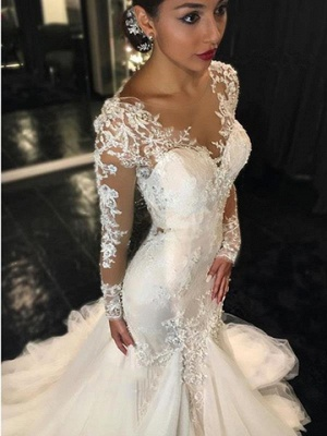 Mermaid Wedding Dresses with Long Sleeves | Lace Beaded Sheer Back Bridal Gowns_3