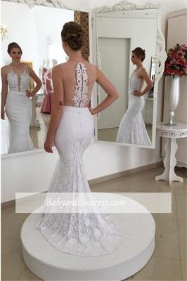 Simple Mermaid White Lace Appliques Sleeveless Wedding Dress_1
