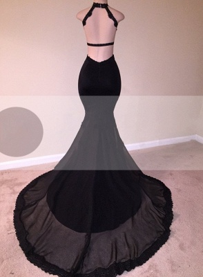 Chic Black Mermaid Prom Dresses | Open Back Lace Evening Gowns_4