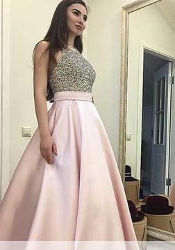 Pink Sweep-train Beading Sequin Round-neck A-line Elegant Prom Dress_1