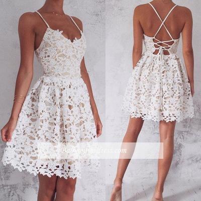 Mini Spaghetti Straps Lace-up Sleeveless Homecoming Dress_1