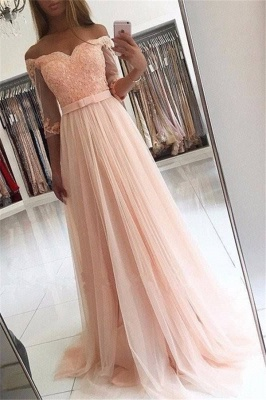 A-line Lace Off-the-shoulder Tulle Half-Sleeves Glamorous Prom Dresses_2