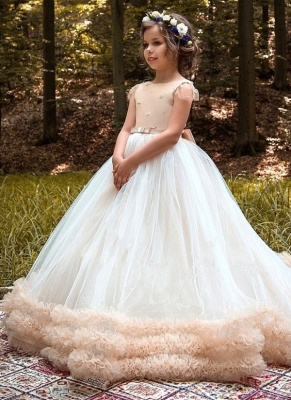 Glamorous Ball Gown Cloud Dresses With Bows | Short Sleeves Tulle Girls Pageant Dresses