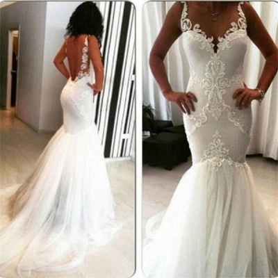 Straps Lace Appliques Backless Sexy Mermaid Wedding Dresses_3