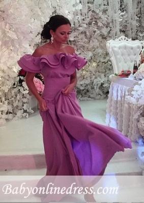 Off-The-Shoulder Lavender Cheap Elegant Ruffles Long Evening Dress 2018_4