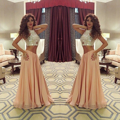 Sexy Two Pieces Crystal Prom Dresses Chiffon Floor Length Party Gowns_3
