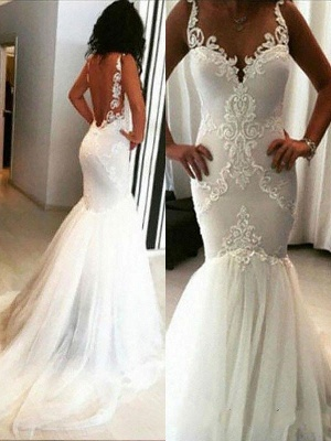 Straps Lace Appliques Backless Sexy Mermaid Wedding Dresses_1