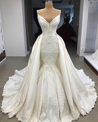Spaghetti Straps V-neck Modern Mermaid 2 in 1 Convertible Wedding Dresses_6
