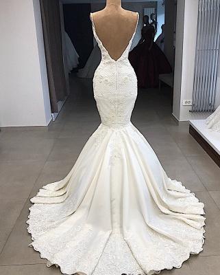Spaghetti Straps V-neck Modern Mermaid 2 in 1 Convertible Wedding Dresses_4