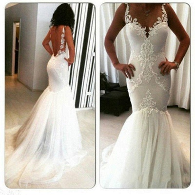 Straps Lace Appliques Backless Sexy Mermaid Wedding Dresses_4