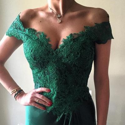 Elegant Dark Green Lace Open-Back Prom Dress | Off-the-shoulder Evening Dress_3