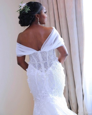 White Beading Mermaid Wedding Dresses | Off-the-Shoulder Flowers Bridal Gowns_5