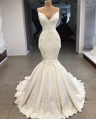 Spaghetti Straps V-neck Modern Mermaid 2 in 1 Convertible Wedding Dresses_5