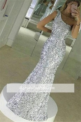 Popular Simple One Shoulder Floor Lenth Sequined Mermaid Prom Dress BA4616_3