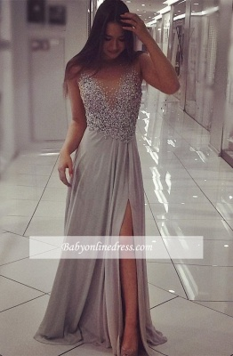 2018 Gorgeous Split Sleeveless Prom Dress with Beadings_1