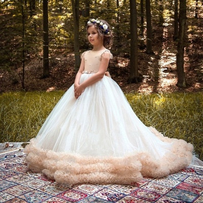 Glamorous Ball Gown Cloud Dresses With Bows   Short Sleeves Tulle Girls Pageant Dresses_3
