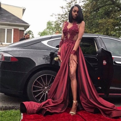 Sexy Burgundy Sheer Prom Dresses Long Sleeves Side Slit Evening Gowns LY099_3