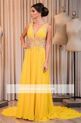 Appliques Elegant Chiffon V-Neck Sleeveless Prom Dress_1