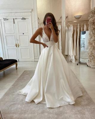 Strpas Pluning V Neck Applique A Line Wedding Dresses | Floor Length Wedding Gown_2