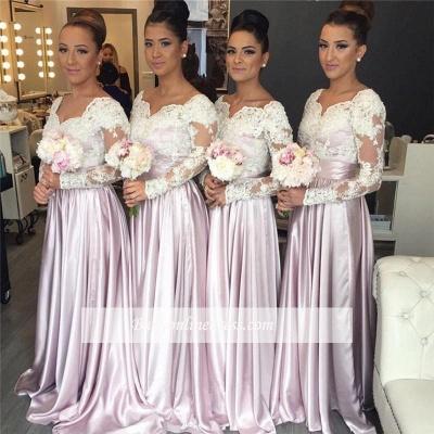 White-Lace Long-Sleeve Pink V-neck Popular Elegant Bridesmaid Dress_1