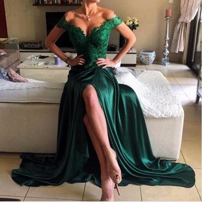 Elegant Dark Green Lace Open-Back Prom Dress | Off-the-shoulder Evening Dress_5