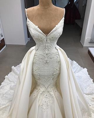 Spaghetti Straps V-neck Modern Mermaid 2 in 1 Convertible Wedding Dresses_3