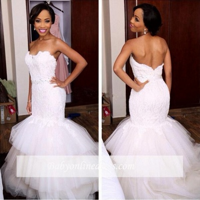 Tiered Tulle Appliques Sweetheart Crystal Mermaid Wedding Dresses_1