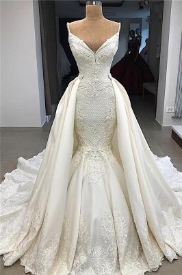 Spaghetti Straps V-neck Modern Mermaid 2 in 1 Convertible Wedding Dresses_1