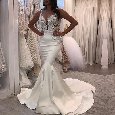 Sexy Straps Mermaid Wedding Dresses | Sleeveless Lace Appliques Bridal Gowns_3