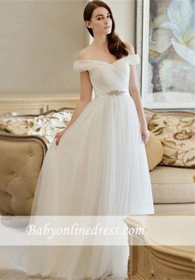 New Arrival Long Crystal Off-the-shoulder Tulle A-line Wedding Dress_1