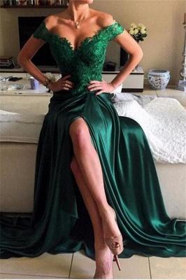 Elegant Dark Green Lace Open-Back Prom Dress | Off-the-shoulder Evening Dress_2