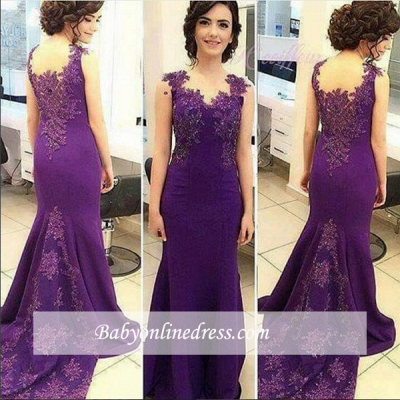 Purple Sleeveless Lace Appliques Prom Dress Long Fit and Flare Evening Gowns_1