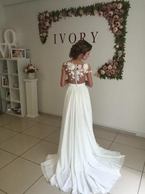 Summer Chiffon  Lace Top Short Sleeves Side Slit Wedding Dresses_6