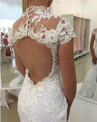 Mermaid Zipper Newest Lace Pearls High-Neck Appliques White Wedding Dress_3