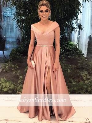 A-Line Schulterfrei Cap-Sleeve Long Sexy Evening Dresses 2018_3