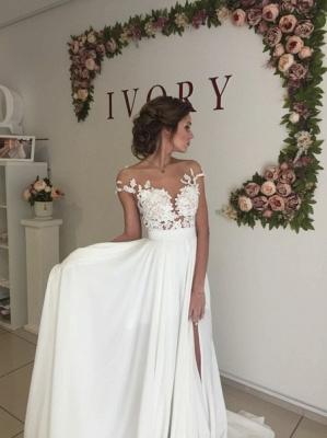 Summer Chiffon  Lace Top Short Sleeves Side Slit Wedding Dresses_5