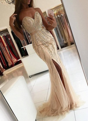 Luxury Beading Mermaid Prom Dresses | Sweetheart Side-Slit Evening Dresses Sweep Train_1