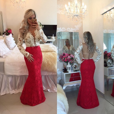Long Sleeves Lace Mermaid Floor Length Prom Dresses with Beadings_4