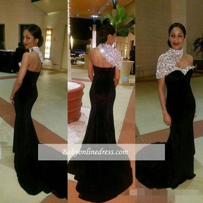 Elegant High Neck Mermaid One Shoulder Crystal Black Prom Dresses_1