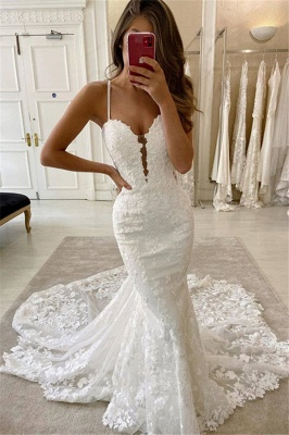 Simple Style Spaghetti Strap V Neck Lace Mermaid Wedding Dresses_1