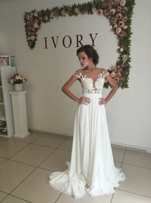 Summer Chiffon  Lace Top Short Sleeves Side Slit Wedding Dresses_4