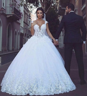 Elegant V-Neck Appliques Bridal Ball Gowns Sleeveless Tulle Wedding Dresses_3