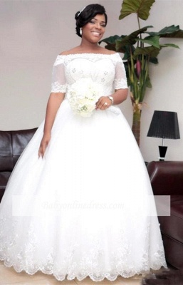 Modest Half-Sleeve Ball-Gown White Lace Wedding Dress_6