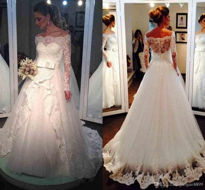 Elegant Tulle Off-the-shoulder Long Sleeves Lace Wedding Dress with Bow_4