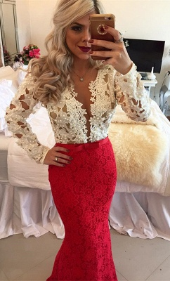 Long Sleeves Lace Mermaid Floor Length Prom Dresses with Beadings_3