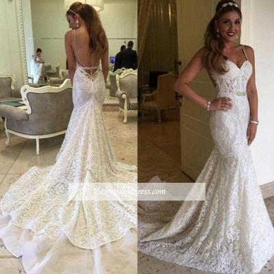 Elegant Backless Spaghetti Straps Mermaid Lace Wedding Dresses_1