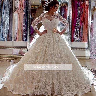 Long Sleeves Lace Sheer Vintage Church-Train Illusion Ball-Gown Arabic Wedding Dress_1