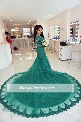 New Arrival Green Lace Tulle Long-Train Appliques Mermaid Long-Sleeves Evening Dresses_3