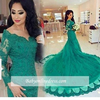 New Arrival Green Lace Tulle Long-Train Appliques Mermaid Long-Sleeves Evening Dresses_1